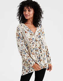 American Eagle AE Floral Lace Blouse