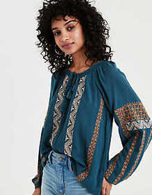 American Eagle AE Smocked Neck Peasant Top