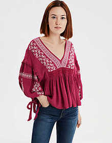 American Eagle AE Long Sleeve Embroidered Bohemian
