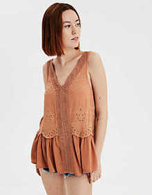 American Eagle AE Lace Inset Shell Top