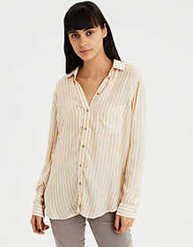 American Eagle AE Boyfriend Stripe Button-Down