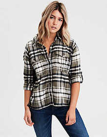 American Eagle AE Workwear Plaid Long Sleeve Butto