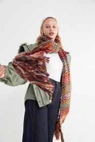 Textured Knit Oblong Scarf
