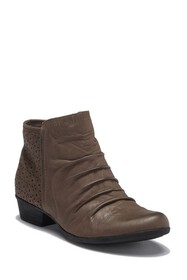 Rockport Carly Rouched Leather Ankle Bootie - Wide