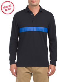 FRENCH CONNECTION Textured Pique Long Sleeve Polo