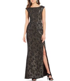 Adrianna Papell Metallic Jacquard Boat Neck Side S