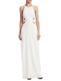 Halston Heritage Tie-Back Cut Out Gown CHALK