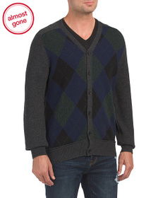 FRENCH CONNECTION Argyle Front Lambswool Sweater