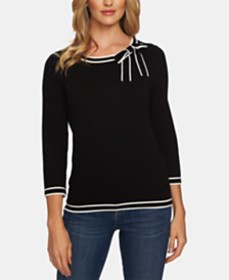 CeCe Cotton Bow-Embellished Striped-Trim Sweater