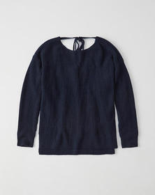 Cashmere Tie-Back Sweater, NAVY BLUE