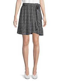 MICHAEL Michael Kors Printed Wrap Skirt WHITE BLAC