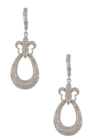 LaFonn Micro Pave Fleur-de-Lis Teardrop Earrings