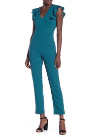 Vanity Room Solid V-Neck Flutter Sleeve Jumpsuit