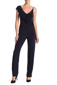 bebe Ruffle Short Sleeve Jumpsuit