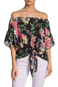Meghan LA Off-the-Shoulder Flutter Sleeve Blouse