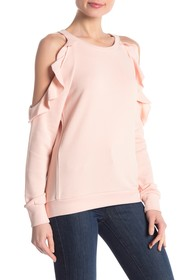 Central Park West Cold Shoulder Ruffle Sweater