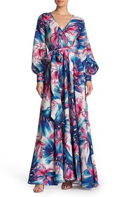 Meghan LA Floral Print Wrap Maxi Dress
