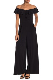 Eliza J Off-the-Shoulder Ruffle Jumpsuit