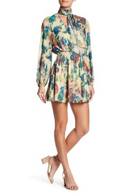Haute Hippie Smocked Waist Floral Print Dress