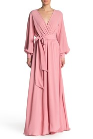 Meghan LA Long Sleeve Wrap Maxi Dress