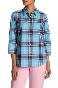 FOXCROFT Sue 3/4 Length Sleeve Downtown Plaid Shir