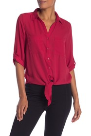 Harve Benard Georgette Roll Sleeve Tie Blouse