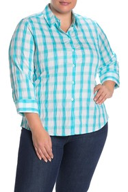 FOXCROFT Sue Plaid Crinkle Button Down Shirt (Plus