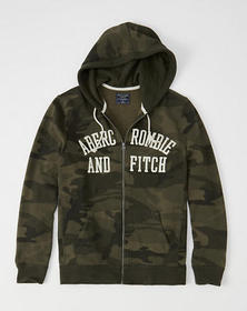 Logo Graphic Full-Zip Hoodie, Olive Green Camo