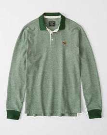 Long-Sleeve Icon Polo, HEATHER GREEN