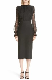 Valentino Lace Bodice Sheath Dress Valentino Lace
