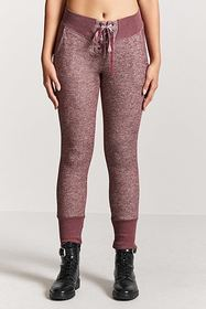 Forever21 Heathered Knit Lace-Up Joggers