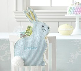 Pottery Barn Aqua Bunny Chairbacker