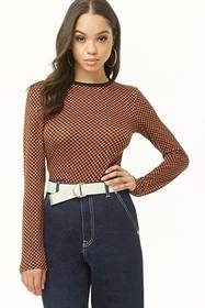 Forever21 Checkered Print Top