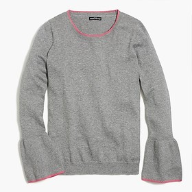 J. Crew Tipped flare-sleeve sweater