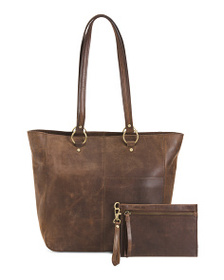 BORN Leather Bronco Wellsley Tote With Pouch