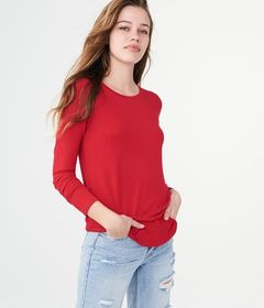 Aeropostale Long Sleeve Seriously Soft Solid Crew