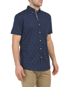 LEE Short Sleeve Garment Washed Ditsy Print Shirt