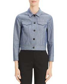 Theory - Cropped Denim Jacket in Indigo