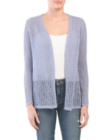 TAHARI Corded Cardigan With Pointelle Detail