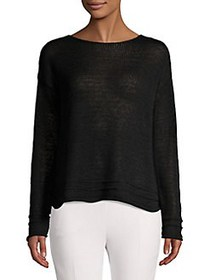 Lord & Taylor Textured Cotton Blend Sweater BLACK