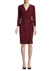 Anne Klein Animal Print Wrap Dress TITIAN RED