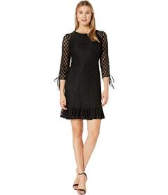 Nine West Lace 3/4 Sleeve Dress with Binding and F