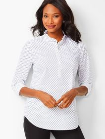 Talbots Ruffle-Neck Cotton Popover - Dot