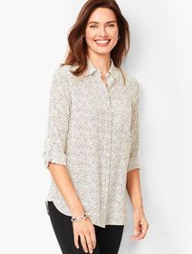 Talbots Washable-Silk Button-Down Shirt - Dab Dot