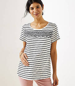 Maternity Embroidered Stripe Tee