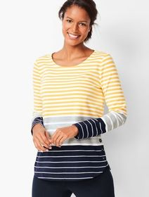 Talbots Tri-Color Stripe Top