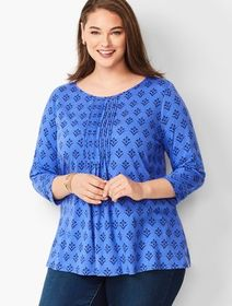 Talbots Jewel-Neck Pintuck Tunic - Sprouting Flora