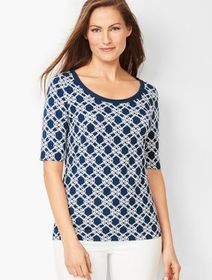 Talbots Platinum Jersey Scoop-Neck Top - Braided T