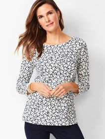 Talbots Cotton Bateau-Neck Tee - Whimsy Hearts