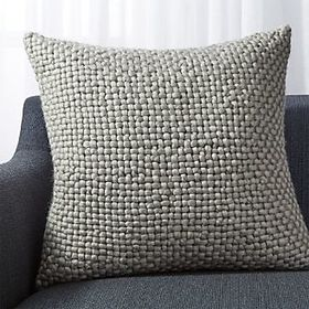 Crate Barrel Cozy Weave Grey Pillow 23""